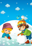 Barn på lek på snön Arkivfoto