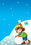 Barn på lek på snön Arkivbild