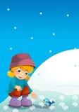 Barn på lek på snön Royaltyfria Bilder