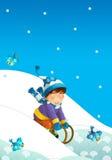 Barn på lek på snön Arkivfoton