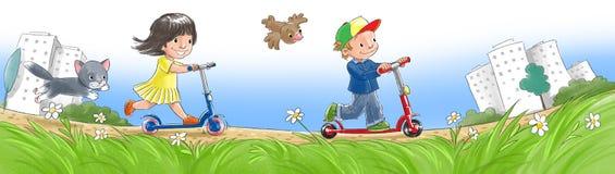 Barn på sparkcyklar royaltyfri illustrationer