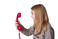 Barn på telefonen Royaltyfria Foton