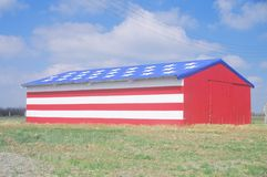 Barn Painted Like American Flag, Central California Stock Photography