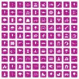 100 barn parkerar symboler ställde in grunge rosa Royaltyfri Fotografi