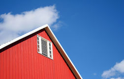 Barn Peak. Barn side and roof against blue sky stock image