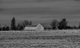 The barn. Photo taken this winter, this barn is part of the decor of our campaigns Stock Images