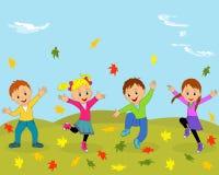 Barn, pojkar och flicka som hoppar och vinkar deras händer Arkivfoto