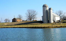 Barn by a pond. A Barn on a farm in Lancaster County, PA Stock Images