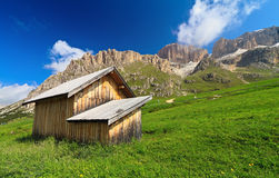 Barn in Pordoi pass Royalty Free Stock Photo