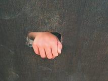 Barn räcker med små fingrar till och med hålet i träklättringväggstege på ungelekplats Arkivbild
