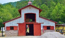 Barn with Red Doors Stock Photo