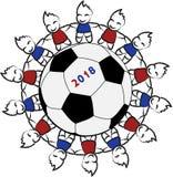 Barn runt om en fotbollboll vektor illustrationer