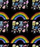 Barn  ?s-m?lning p? papper Ungar som drar bild Sm? barn, pojkar och flickor Skola dagisillustration Spela och v?x fotografering för bildbyråer
