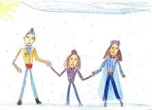 Barn` s som drar en lycklig familj Royaltyfria Foton