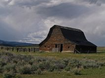 Barn and Sage. This image of the old barn in prairie country with the sage brush was taken in western MT Royalty Free Stock Photography