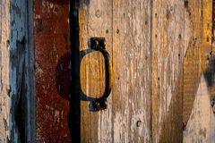 Barn side door handle during sunset Stock Images