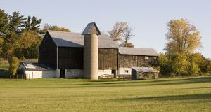 Barn and Silo Royalty Free Stock Photo