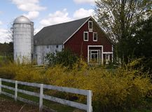 Barn and Silo. This picture of the barn and silo was taken in NH during a recent visit Royalty Free Stock Photography