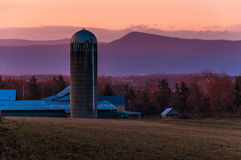 Barn and silo on a farm in the Shenandoah Valley at sunset, with Stock Images