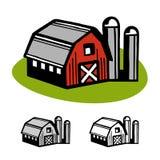 Barn and silos. Farm barn and silo cartoon illustration design Stock Images