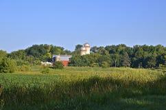 Barn and silos of a dairy farm Stock Photos