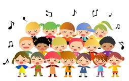 Barn sjunga i kör att sjunga Royaltyfria Foton