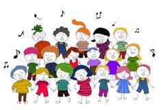 Barn sjunga i kör den sjungande illustrationen Royaltyfria Bilder