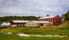 Barn and small stream on a farm in rural York County, Pennsylvan Stock Photo