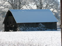 Barn in the Snow Stock Photography