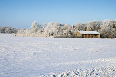 Barn in the Snow Royalty Free Stock Images