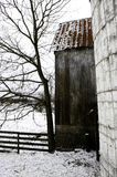 Barn in Snow Stock Image