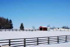 Barn in snow covered field. Scenic view of red shed or barn in snow covered countryside field with blue sky background royalty free stock image