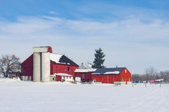 Barn in Snow Covered Meadow. A barn in a snow covered meadow in late winter royalty free stock images