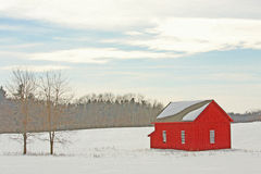 Barn in snow in winter upstate New York Royalty Free Stock Photo