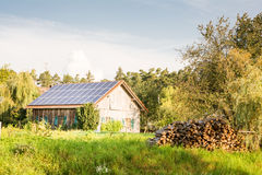 Barn with Solar Panels Stock Image