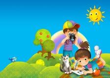Barn - som är idérika i parkera - illustration Royaltyfria Foton