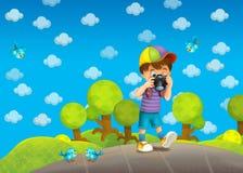 Barn - som är idérika i parkera - illustration Royaltyfria Bilder