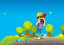 Barn - som är idérika i parkera - illustration Arkivfoto