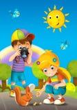 Barn - som är idérika i parkera - illustration Fotografering för Bildbyråer