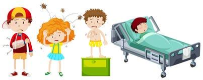 Barn som är sjuka från olik sjukdom stock illustrationer