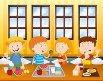 Barn som äter i en kafeteria stock illustrationer