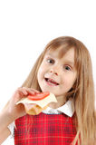 barn som äter smörgåsen Arkivfoto