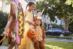 Barn som bär allhelgonaaftondräkter för trick eller behandling royaltyfri bild