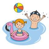 Barn som badar på stranden stock illustrationer