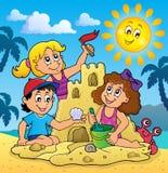 Barn som bygger sandslotttema 3 stock illustrationer