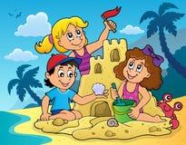 Barn som bygger sandslotttema 2 stock illustrationer