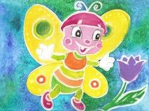 Barn som drar den roliga fjärilsBatikvattenfärgen Arkivbild