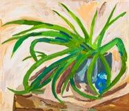 Barn som drar - gräsplansidor av den inomhus växten Arkivbild