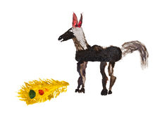Barn som drar - häst och Firebird fjäder Arkivbild