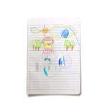Barn som drar konst på boken Royaltyfri Bild